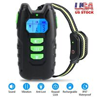Dog Pet Electric Shock Training Collar Waterproof LCD Rechargeable with Remote