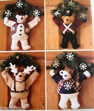 Christmas door wall hanging pattern bear reindeer toy soldier wreath
