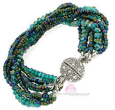 Ivy Teal Blue Green Silver Magnetic Bracelet Pave Crystals Ball Sphere Ab Bead