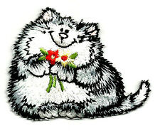 Cat - Kitten - Pet - W/Flowers - Embroidered Iron On Applique Patch