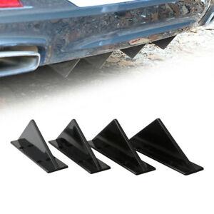 4x Black Car Rear Lower Bumper Diffuser Fin Spoiler Lip Wing Splitter Decoration