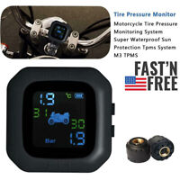 Waterproof Cordless TPMS Motorcycle Tire Pressure Monitoring System 2 Sensor US