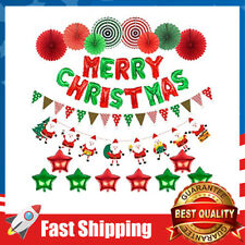 Christmas Indoor Decorations Kit w/ Banner Star Foil Balloon for Party Office