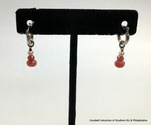 Ster Hoops w Dangling Cult Pearl Agate Earrings