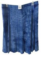 Sami & Jo stretch skirt Size XL blue tie dye sequins NEW