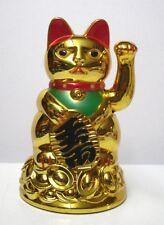 "4"" Moving Hand Battery Operated Golden Color Maneki Neko Lucky Cat"