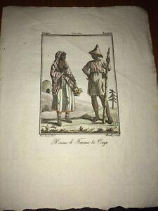 AFRIQUE. HABITANTS DU CONGO. GRAVURE EN COULEURS DE 1806.