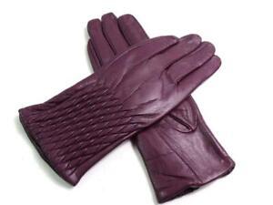 QUIVANO Premium Soft Leather Gloves With Decorative Diamond Stitching Purple S