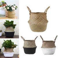 Foldable Grass Wickerwork Storage Basket Hanging Laundry Garden Basket Pouch