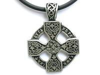 Celtic Solar Cross Pewter Irish Druid Charm Pendant & Pvc Choker Necklace Chain