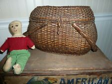 ANTIQUE FRENCH WICKER SEWING or LETTER BASKET GREAT PATINA FINELY WOVEN