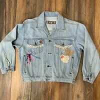 Rare Vintage 80's BUGLE BOY Custom Denim Jean Jacket Hearts Lace Beaded Size Med