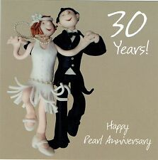 30th Wedding Anniversary Card From the One Lump or Two Collection Pearl annivers