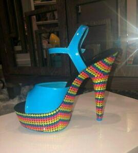 Pleaser - Neon Rainbow Bling Platform Heel Stripper Pole Dancer