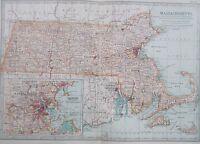 Map of Massachusetts 1902. Britannica atlas AMERICA.USA.