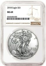 2018 1oz Silver American Eagle NGC MS69 Brown Label - In Stock
