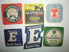 SIX BEERMATS FROM THE 1970S- 80S WORTHINGTON NEWCASTLE GUINNESS AND TENNENT'S