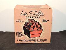 La Stella Coaster Set with Holder made in Mass. Set of 8 original box (9079)