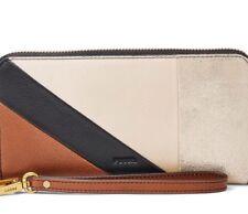 NEW FOSSIL Women's Wallet Leather Large Emma Zip Clutch Neutral Stripe Msrp $95