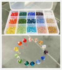 15 Farben Glasperlen Set mit Box Doppelkegel facettierte Perlen Schmuck Basteln