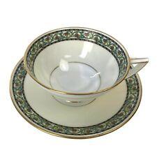 Vintage Minton England Porcelain Tea Cup Saucer Stylized Yellow Floral Border T1