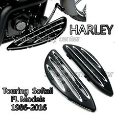 Black Deep Cut Driver Stretched Floorboards for Harley Touring Softail FLH