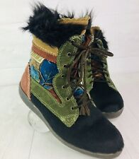 TECNICA Insulated Ski Snow Boots Tapestry Goat Hair Fur Euro 36 US Size 6 Brown
