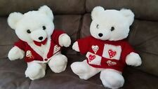 "VINTAGE Valentine's 1990s Plush Teddy Bears Lot 16"", White Stuffed heart sweater"
