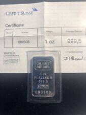 Credit Suisse, 1 oz 999.5 Platinum Bar - COA