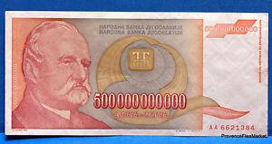 Jugoslavia Banconota Usato 500 Miliardi Della Dinars Pick137 1993