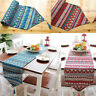 Ethnic Style Table Runner Bohemian Tassel Tablecloth Dining Cover Mat Red/Blue