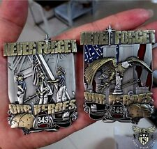 "9-11 WTC NEVER FORGET OUR HEROES FIRE POLICE  343 2"" NEW YORK CHALLENGE COIN"