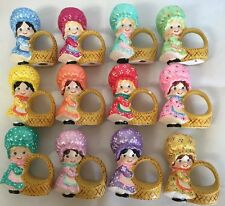 Vintage Napkin Rings Girls In Bonnets With Baskets Ceramic Set of 12 Cute!