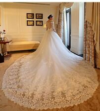 Princes Beaded Lace 3/4 Sleeve Wedding Dress V-Neck Cathedral train Bridal Gowns