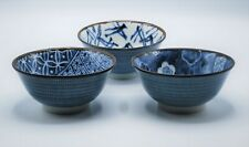 """Set of 3 Rice Bowl 5.75""""D Porcelain Blue Brown Floral & Abstract Made in Japan"""
