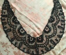 Antique Edwardian Silk Net Dress Collar Bugle Beads Arts N Crafts Trim 1910s Vtg