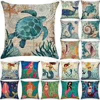 """Retro Ocean Mermaid Throw Pillow Cases Sofa Home Car Decor Cushions Cover 18x18"""""""