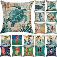 Retro Ocean Mermaid Square Throw Pillow Cases Sofa Home Car Decor Cushions Cover
