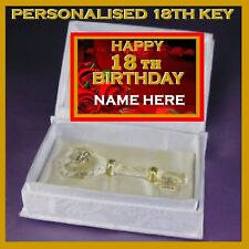 18TH  HAPPY BIRTHDAY PERSONALISED GLASS KEY IN SATIN BOOK  GIFT EIGHTEENTH RS