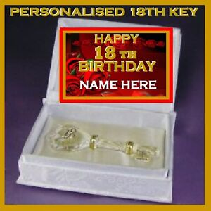 18TH HAPPY BIRTHDAY PERSONALISED GLASS KEY IN SATIN BOOK  GIFT EIGHTEENTH RS S