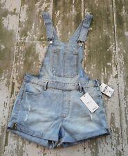 NWT FOREVER 21 Light Rinse Distressed Denim Jeans Overalls Shorts Shortalls 28