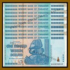 Zimbabwe 100 Trillion Dollars x 10 Pcs, 2008 AA ( 1/10 Bundle) Circulated