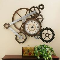 Vintage Clocks For Walls Art Large Retro Rustic Metal Gears Roman Numeral Home