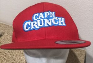 Captain Crunch Cereal  Cap Baseball Embroidered Adjustable Snapback  Red