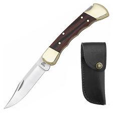 Buck Folding Hunter Finger Grooved Taschenmesser mit Gürteltasche Biker Messer