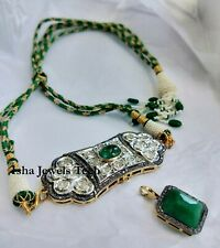 Handmade Natural Diamond & Diamond Polki Gold & 925 Sterling Silver Necklace