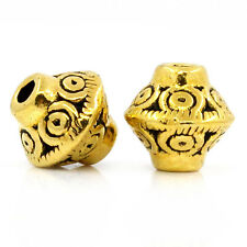 """100PCs Spacer Beads Bicone Gold Tone 7mmx6mm(2/8""""x2/8"""")"""