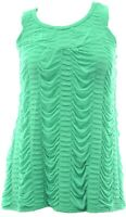 Fab Green Ruffle Gathering Ruched Pleat Sleeveless Swing Top Ladies Bnwt