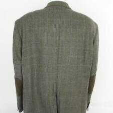 56 R Ralph Lauren Brown Tweed Wool Leather 2 Btn  Mens Jacket Sport Coat Blazer