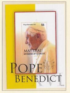 St.Vincent Mayreau Block 24 Pope Benedict Xvi. (MNH)